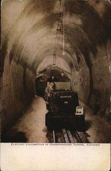 Electric Locomotive in Underground Tunnel Chicago Illinois