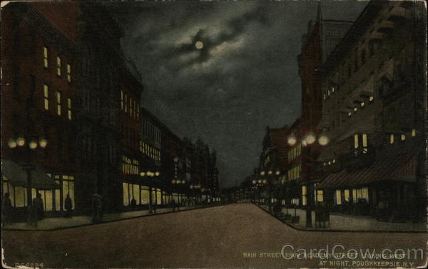 Main Street from Academy Street looking West, at Night Poughkeepsie New York