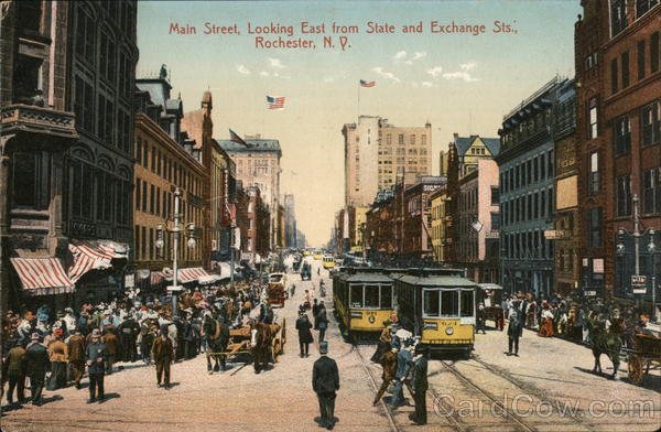 Main Street, Looking East from State and Exchange Sts. Rochester New York