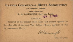 Illinois Commercial Men's Association Acknowledgement of $2 Assessment Received