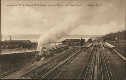 View from N. Y. Central R. R. Bridge, Depot and Ferry House