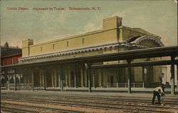 Union Depot, Approach to Trains Postcard