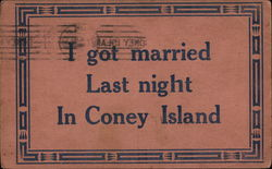 I Got Married Last Night in Coney Island