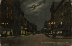 Main Street from Academy Street looking West, at Night