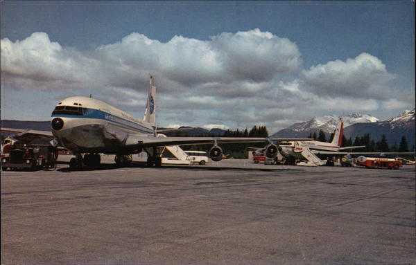 Jets of Pan American Airways and of Pacific Northern Airlines Juneau Alaska