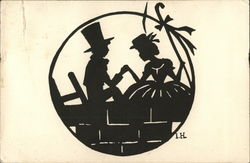 The Shepherdess and the Sweep Silhouettes Postcard