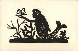 "Paper Cutout ""The Little Mermaid,"" by H.G. Andersen Silhouettes Postcard"