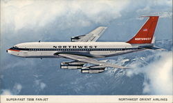 Super-Fast 720B Fan-Jet Northwest Orient Airlines Postcard
