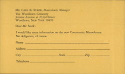 Correspondence Card, The Woodlawn Cemetery