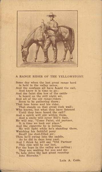 A Range Rider of the Yellowstone Cowboy Western