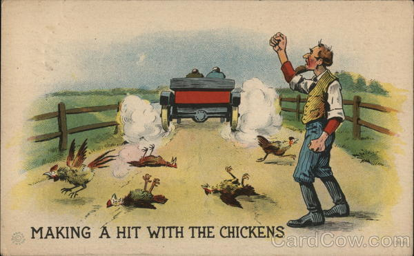 Farmer Shakes Fist at Car that just Ran over his Chickens