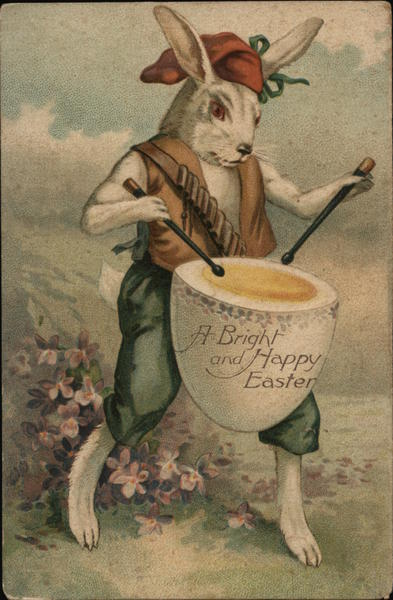 A Bright and Happy Easter - Bunny with Egg Drum With Bunnies