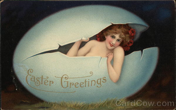 Easter Greetings-Girl in an Egg Eggs