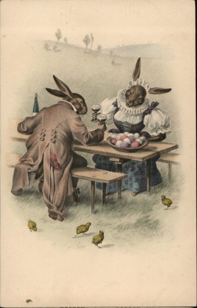 Rabbits Sitting at a Table With Bunnies