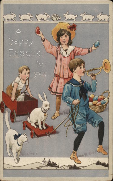 A Happy Easter to You with Children Celebrating