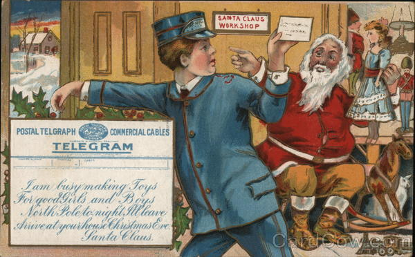 A telegram being sent from Santa in his workshop. Toys