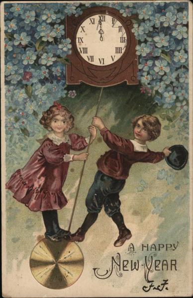 A Happy New Year Boy and Girl Swinging on a Clock Pendulum.