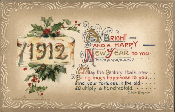 1912 A Bright and a Happy New Year To You New Year's