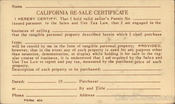 California Resale Certificate Postal Cards & Correspondence
