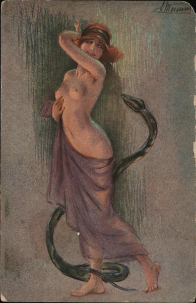 Mostly Naked Woman with Snake S. Meunier Risque & Nude