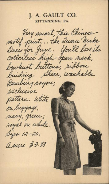 J.A. Gault Co Dress Advertising