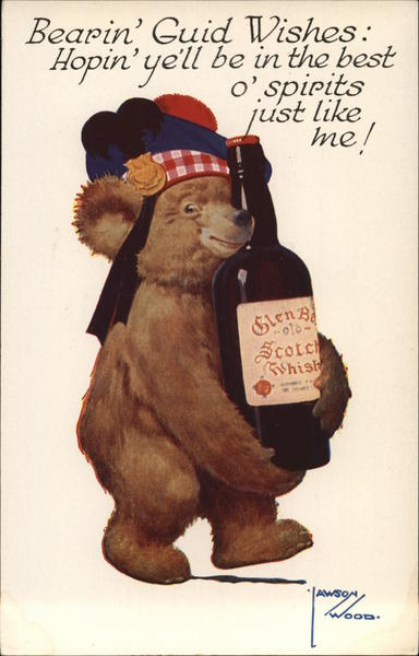 Bear Holding Bottle of Scotch Lawson Wood Comic, Funny