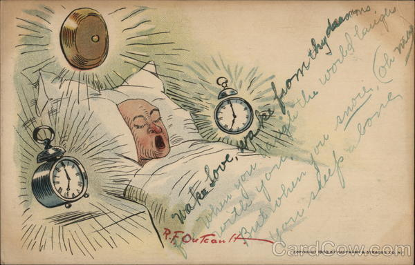 Alarm Clocks and Sleeping Man R. F. Outcault Comic, Funny