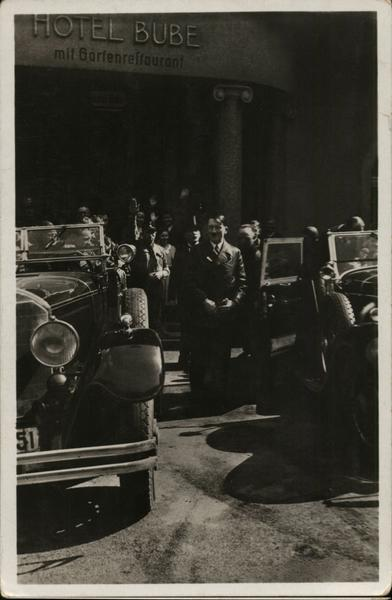 Adolf Hitler in front of Hotel Bube Nazi Germany