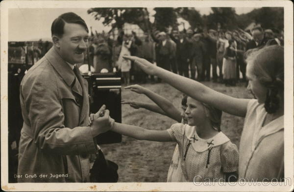 1935 Adolf Hitler greets saluting young girls Nazi Germany