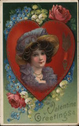 Valentine Greetings with Girl on Heart with Flowers