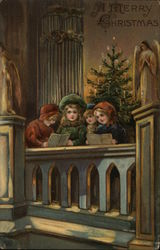 A Merry Christmas - Four Children Singing Carols in Church.