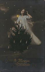 Angel and a Christmas Tree with Candles