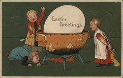 Easter Greetings with Children Cooking a Large Egg