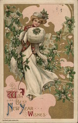 Girl With Muff and Mistletoe Postcard