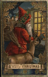 Santa with Reindeer and Bag of Toys