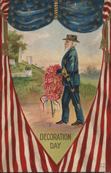 Soldier With Flower Wreath: Decoration Day