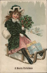 A Merry Christmas with Girl on Sled