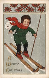 Boy With Fur Hat And Red Scarf Skiing Downhill