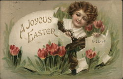A Joyous Easter with Girl Hatching From Egg