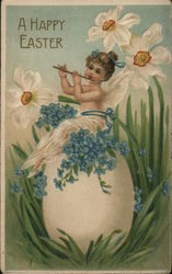 Fairy Sitting on Egg With Flowers Postcard