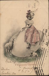 Girl in Pink Feeding Sheep Sitting on Egg