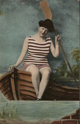 Person in Bathing Suit With Oar and Boat