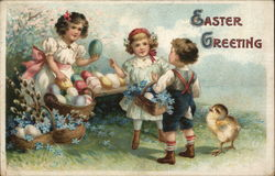 Easter Greeting with Children, Chick, and Eggs