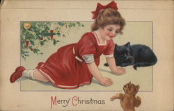 Merry Christmas - Young girl with Kitten and Teddy Bear