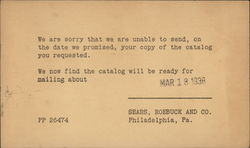Correspondence Card, Sears, Roebuck, and Co.