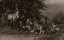 A Short Rest - Hunting party, man, horse, and dogs