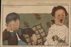 "A sleeping boy and yawning girl on a couch with the sarcastic caption ""An entertaining caller."""