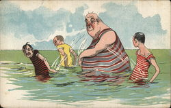 Three small men splash water on a tall, fat, bald man wearing a blue and red striped shirt while swimming in the ocean