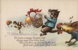 A Happy Easter Tide with Chicken Biting Kitten, Upsetting Easter Egg Basket and Chick