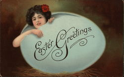 Easter Greetings with Girl in Egg